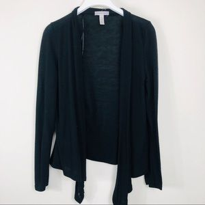 Ambiance Apparel Black Open Cardigan Size Large